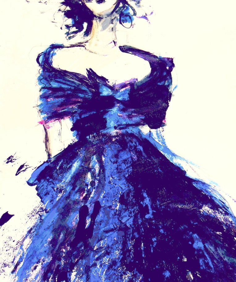 Oscar de la Rente blue silk dress